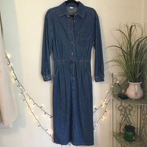 VINTAGE '90s Lands' End Denim midi Dress Button